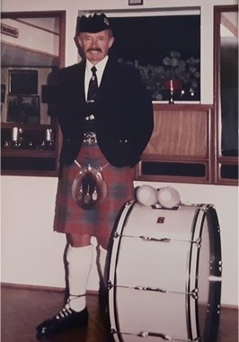 George McKillop with bass drum